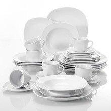 MALACASA серия Elisa 30 шт фарфоровый столовый сервиз чашки, блюдца, обеденный суп десертные тарелки набор для 6 человек