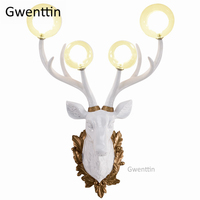 Nordic Antlers Wall Lamps Modern Led Wall Sconce Deer Mirror Lights for Home Decor Living Room Bedroom Bathroom Lamp Luminaire
