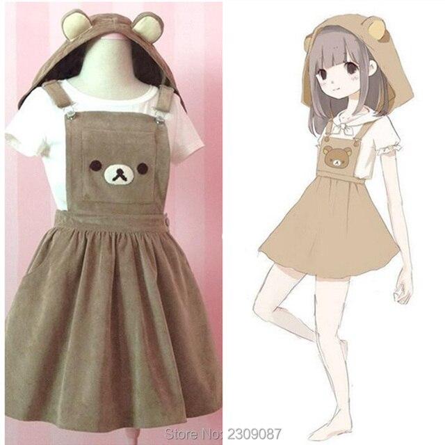 Bear Rilakkuma Straps Dress Lolita Braces Suspender Mori Girl Kawaii Dress School Clothes Vestido Ship From US Dropping Shipping 2