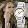 Часы SUNKTA женские  белые  керамические  кварцевые  водонепроницаемые  модные  простой стиль