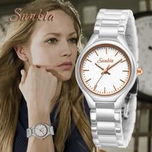 SUNKTA New All White Ceramic Quartz Women Watches Waterproof Fashion Simple Style Top Brand Luxury Zegarek Damski