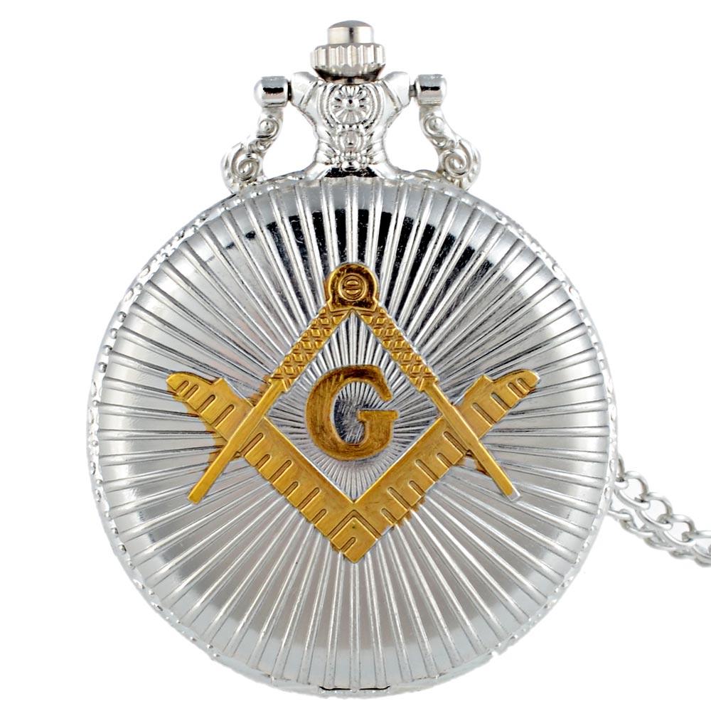 Silver Classic Masonic Pocket Watch Vintage Unisex Necklace Jewelry Gifts Quartz Clock