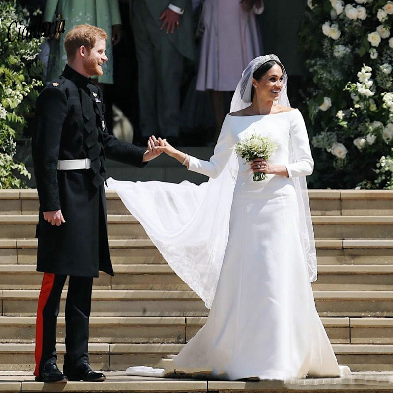Gorgeous 2019 Long Sleeve Boat Neck Country Wedding Dresses Simple Satin Long Custom Made Wedding Dress Vestidos De Noiva