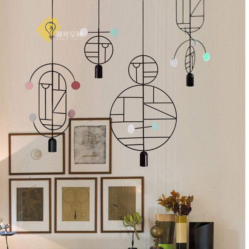 Nordic Art DIY Lines & Dots Restaurant Pendant Lights Geometry Designer Light Fixtures Bar Cafe Light Free Shipping цена