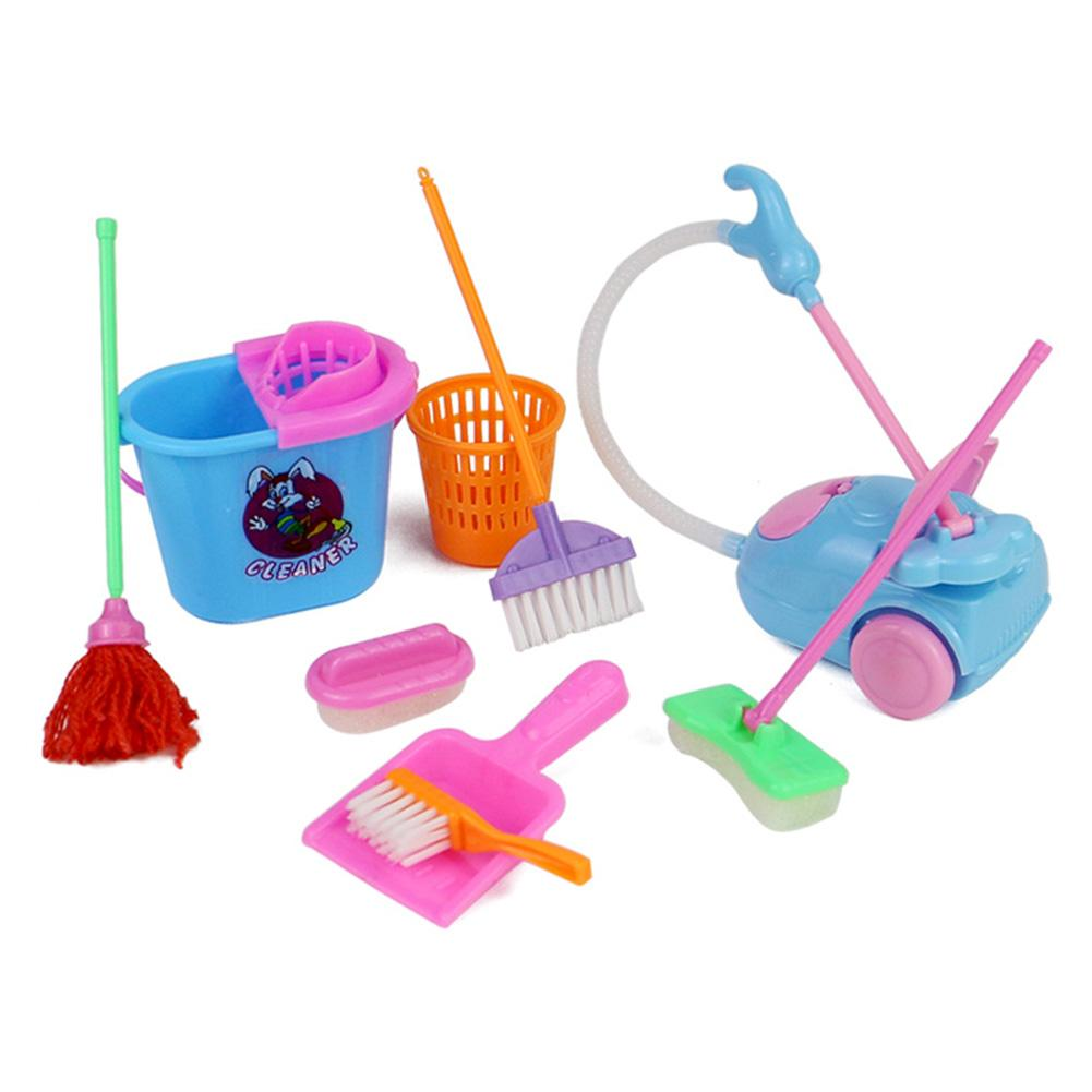 Nine Sets Of Home Simulation Sanitary Ware Cleaning Toys Simulation Play House Cleaning Household Items new arrival girls play house toys simulation children cleaning trolley with vacuum cleaner tool hygiene with gift