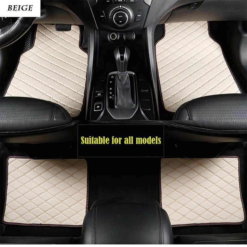 Universal leather car floor mats for volvo xc90 s60 v40 s40 xc60 c30 s80 v50 xc70 waterproof car accessories styling