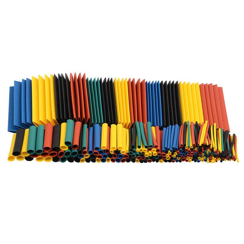 164 adet Set poliolefin küçülen çeşitli ısı Shrink hortum kablo kablo yalıtımlı Sleeving boru seti