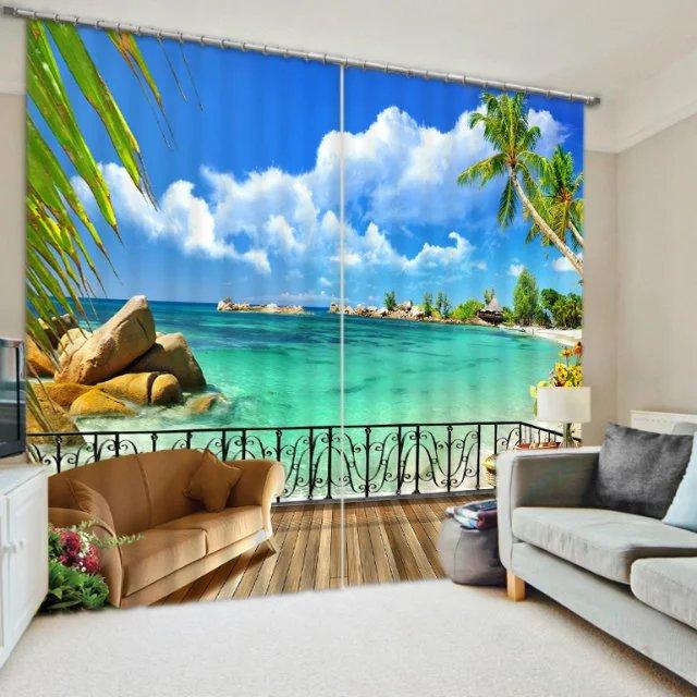 Maladewa Beach Biru Laut Blackout Jendela Tirai Untuk R Tidur Ruang Tamu Dinding Rumah Permadani Dekoratif Cortinas Di Dari Taman