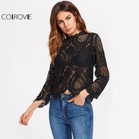 COLROVIE Crochet Lace Elegant Blouse Black Vintage Tops 2017 Women Summer Tops Fashion Sexy Hollow Out
