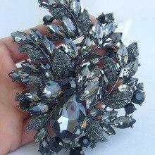 """Классический 4,3"""" Черный Серый горный хрусталь кристалл брошь-капля в форме цветка булавка, кулон EE04672C3"""