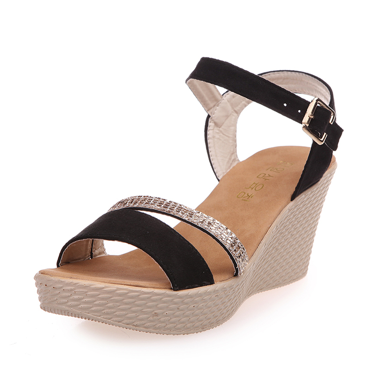 7cm high heels women Buckle Female ankle strap shoes Rhinestone lady wedges open toe woman Peep Toe Sandals black burgundy Khaki sgesvier fashion women sandals open toe all match sandals women summer casual buckle strap wedges heels shoes size 34 43 lp009