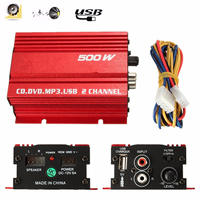 Fashion Red 500w 12V Double Chanels USB Car Power Amplifier HiFi Stereo Car Power Amplifier CD