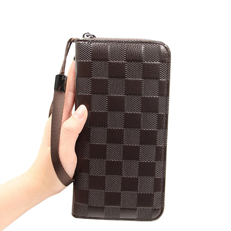 High Quality Business men long wallet leather phone purse zipper coin money clip Lattice embossed Large Capacity vintage clutch in Wallets from Luggage Bags