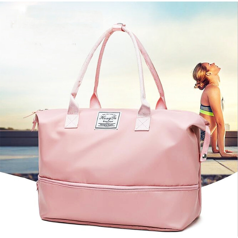 Sport-Bags Shoe-Compartment Duffel-Luggage Pink Yoga Waterproof Large Women for Gym