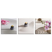 Visual Art Decor Zen Stone Canvas Print HD Orchid Flower Photo Canvas Art For Bedroom Wall