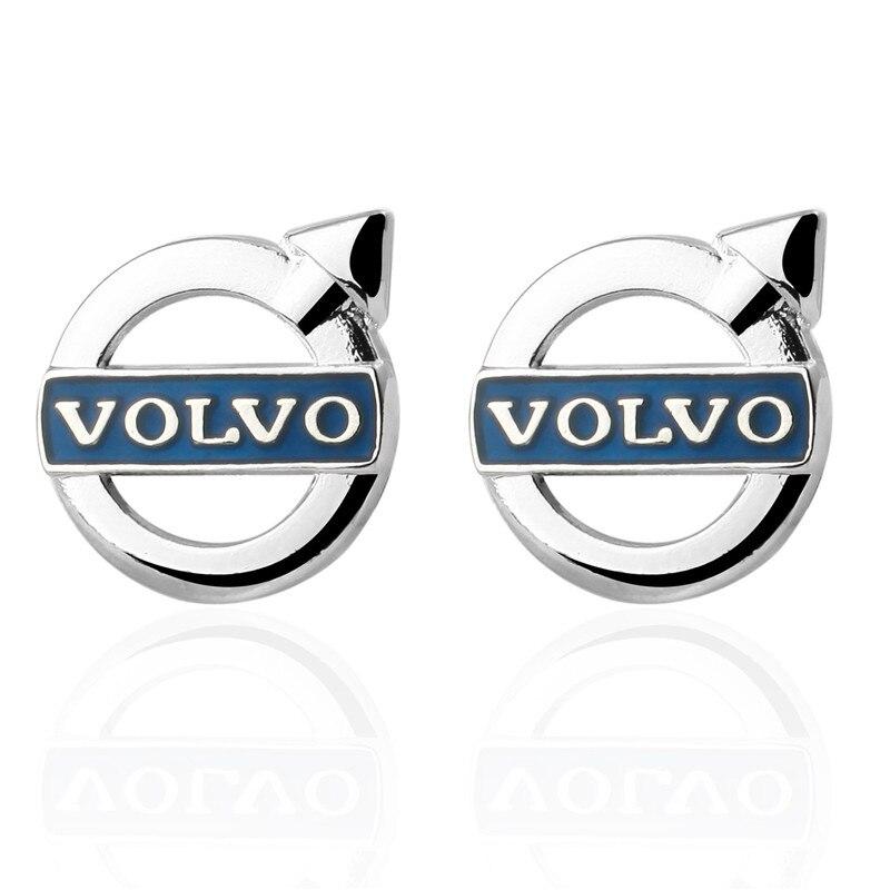 HYX Jewelry suqare blue car logo Enamel Brand Cuff Buttons French Shirt Cufflinks For Mens Fashion Cuff Links