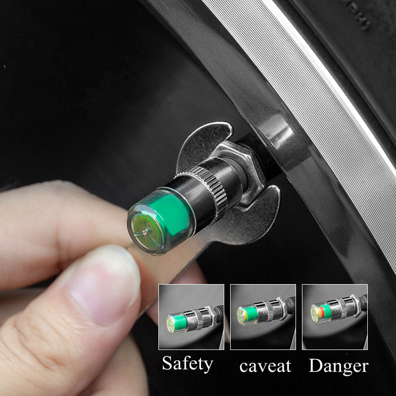 4pcs Universal Tire Pressure Sensor Alarm Monitor 2.2 Bar 32 Psi Air Warning Alert Tire Valve Cap Car Tester Diagnostic Tool Kit