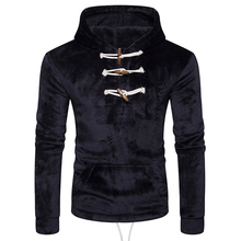 2017 Brand New Men's Hoodies Jackets Horn Button Sweats Velvet Hoodies Winter Warm Thick Sportswear Sweatshirts Pullover Coat
