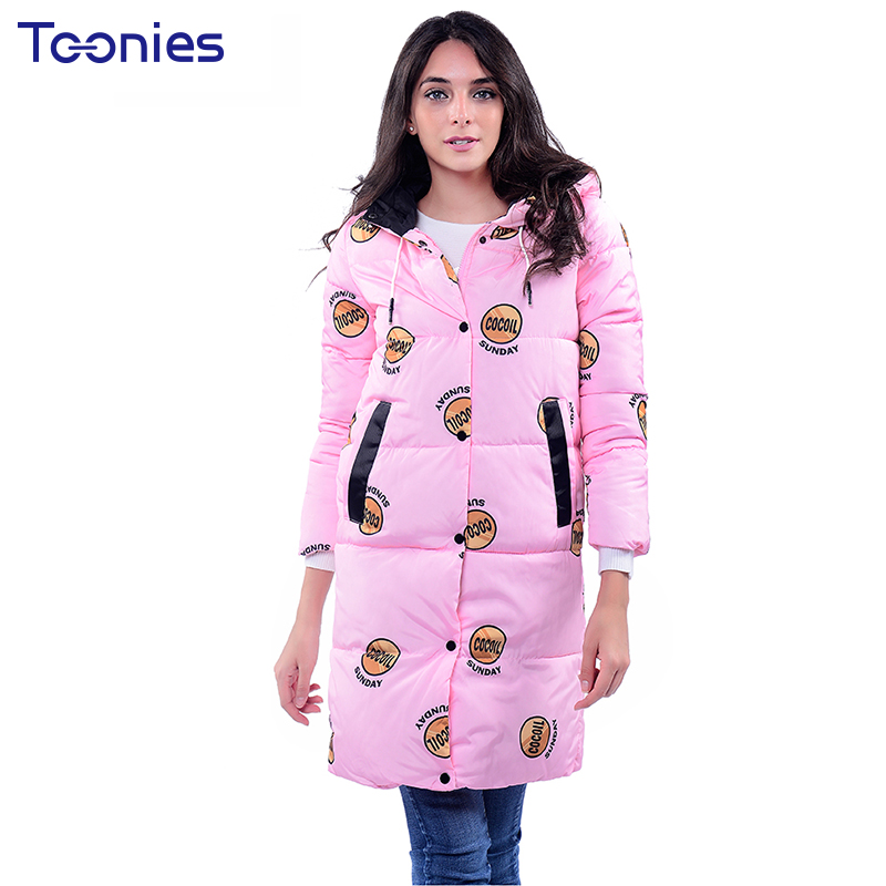 Winter Women Jackets Parkas Padded Coat Overcoat Outwear Hooded Letter Print Pockets Button Warm Female Clothes High Quality zoe saldana 2017 winter coat women hooded cotton padded parkas letter print wadded warm winter jackets female long outwear