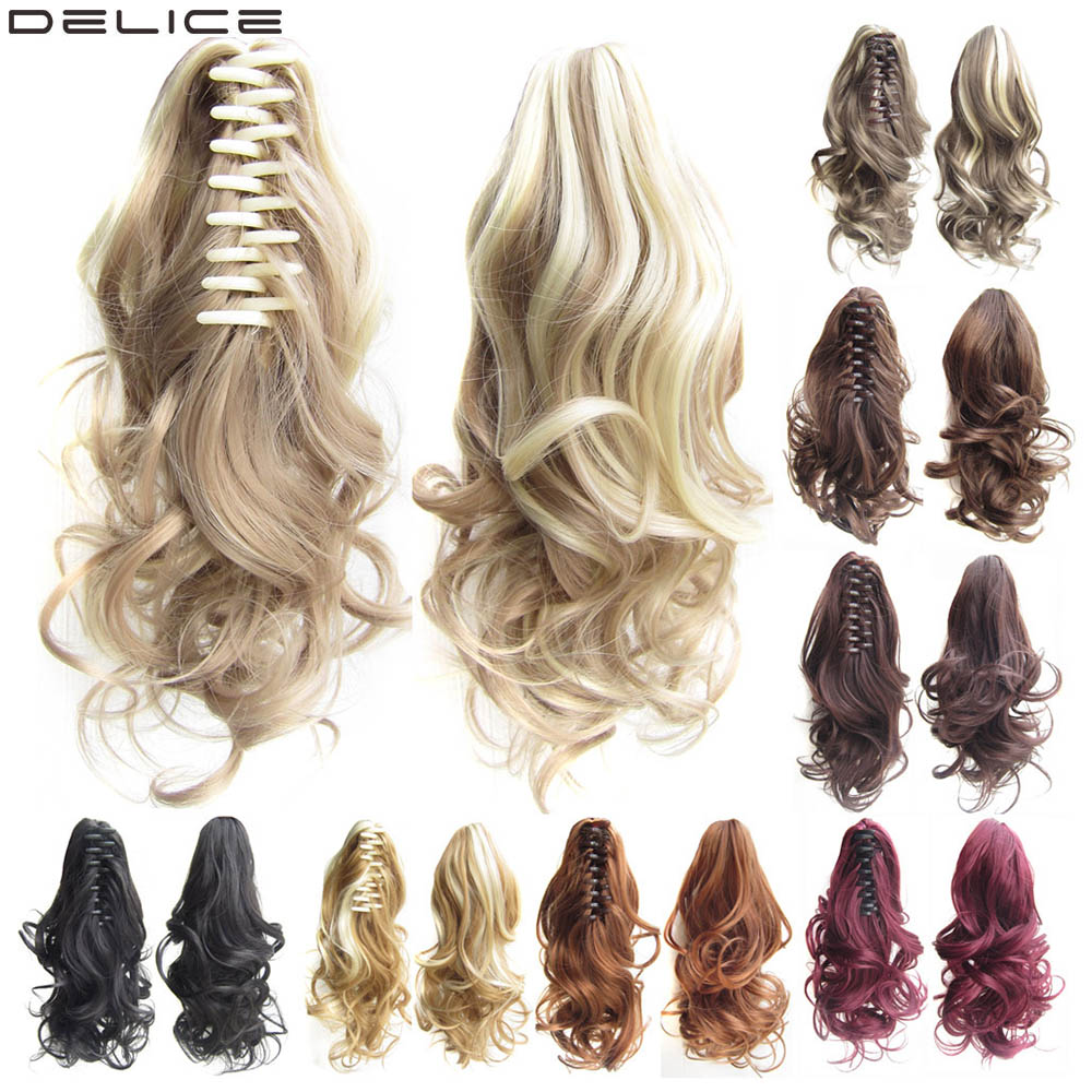 DELICE Short Curly Claw Ponytails Ombre Extensions Synthetic Clip-in Little Pony Tail Hairpiece Blonde Brown