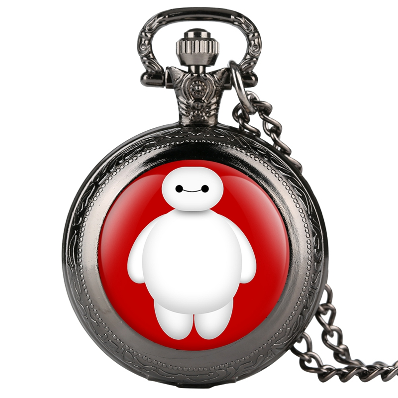 Baymax Of Movie Big Hero 6 Quartz Pocket Watch Fashion Necklace Cute Series Pendant Chain Gifts For Children Kids Collectibles