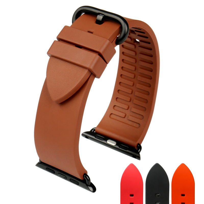 Prix pour Nouveau bracelets de caoutchouc fluoré caoutchouc bande pour brun apple watch sangle 42mm 38mm série 1 et 2 sport montre accessoires pour iwatch