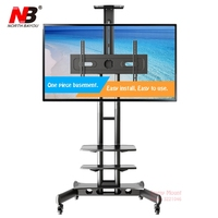Super quality NB US60 SZ 32 65 LED LCD TV Cart Flat Panel Plasma TV Trolley Stand With Tray and AV Shelf