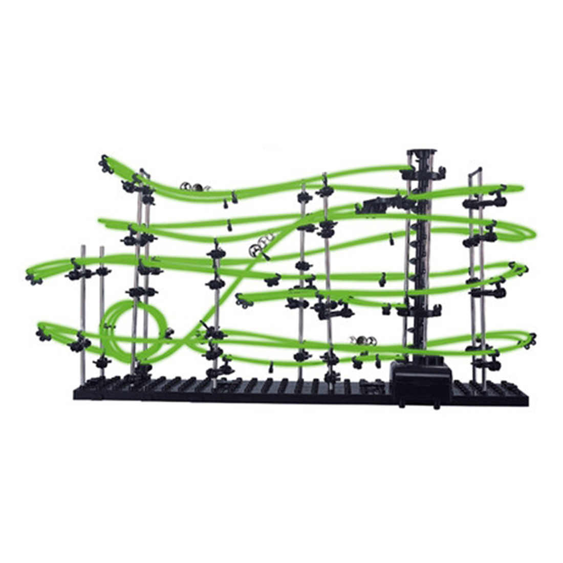 DIY Educational Toys Space Rail Level 3 Glow In The Dark Marble Roller Coaster With Steel Balls 16000mm Model Building Kits Gift