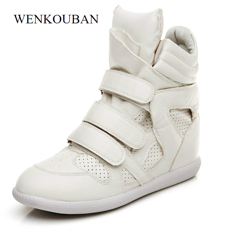 Summer Women Sneakers High Top Hidden Wedges Casual Shoes Basket Femme Ankle Boots Shoes For Women Fashion Black White 35-41