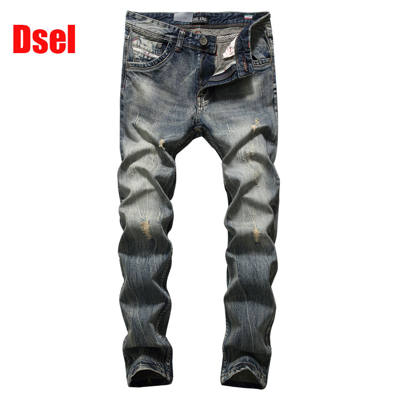 ФОТО Original High Quality Dsel Brand Men Jeans Straight Fit Distressed Ripped Jeans For Men Dsel Brand Jeans Home,Size 29-40 708-2