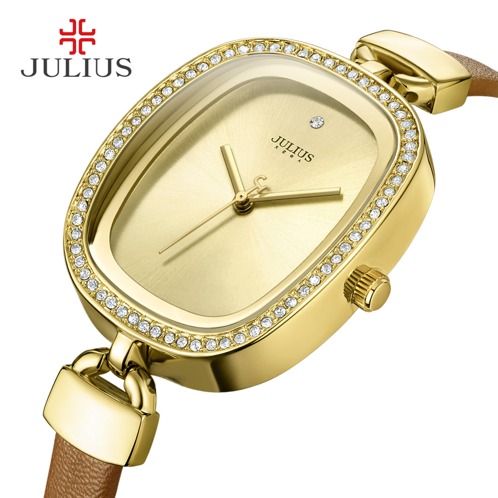 JULIUS 2017 New Brand Fashion Women Watches Quartz Watch Diamonds Dress Ladies Casual Crystal Sports Wristwatch Leather Clock ja 460 julius women watch high quality quartz watch ladies clock oval women dress watches