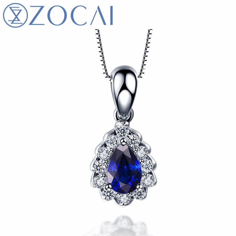 ZOCAI Brand necklace natural sapphire 0.50CT gemstone with 0.18CT diamond 18k white gold pendant 925 silver Chain women necklace