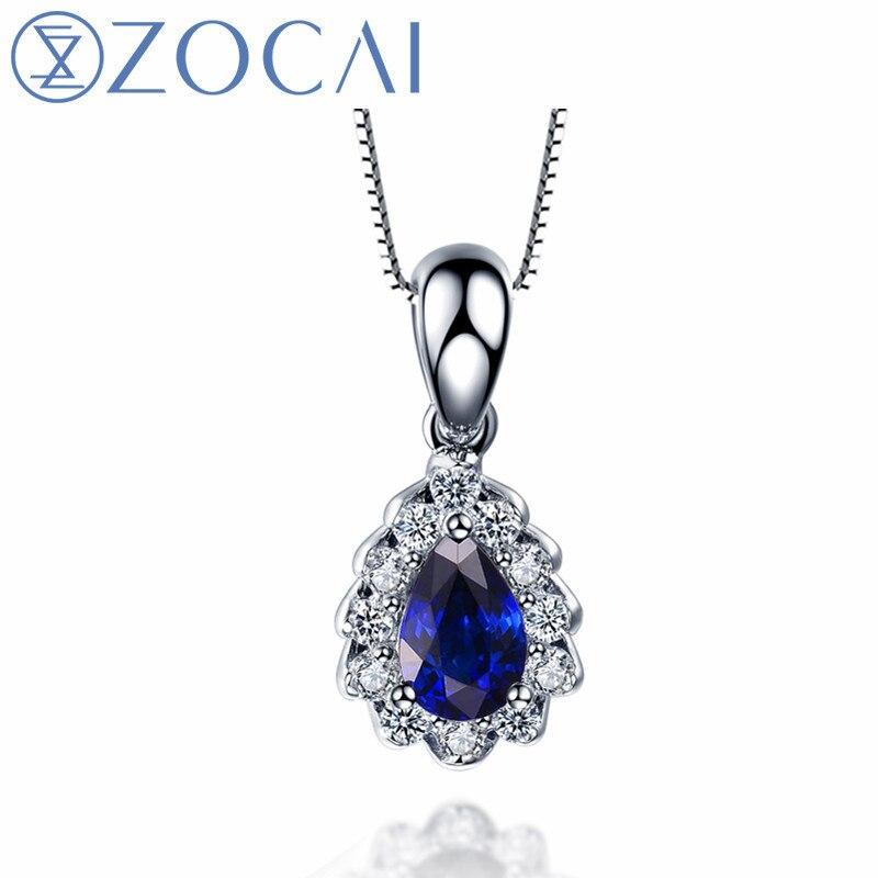ZOCAI Marque collier naturel saphir 0.50CT pierres précieuses avec 0.18CT diamant 18 k pendentif en or blanc 925 Chaîne en argent femmes collier