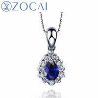 81f931c207d9 ZOCAI Brand Necklace Natural Sapphire 0 50CT Gemstone With 0 18CT Diamond  18k White Gold Pendant