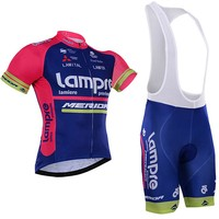 Pro Team Lampre Merida Pink Cycling Jersey Kits Mens Summer Bike Cloth MTB Ropa Ciclismo Bicycle