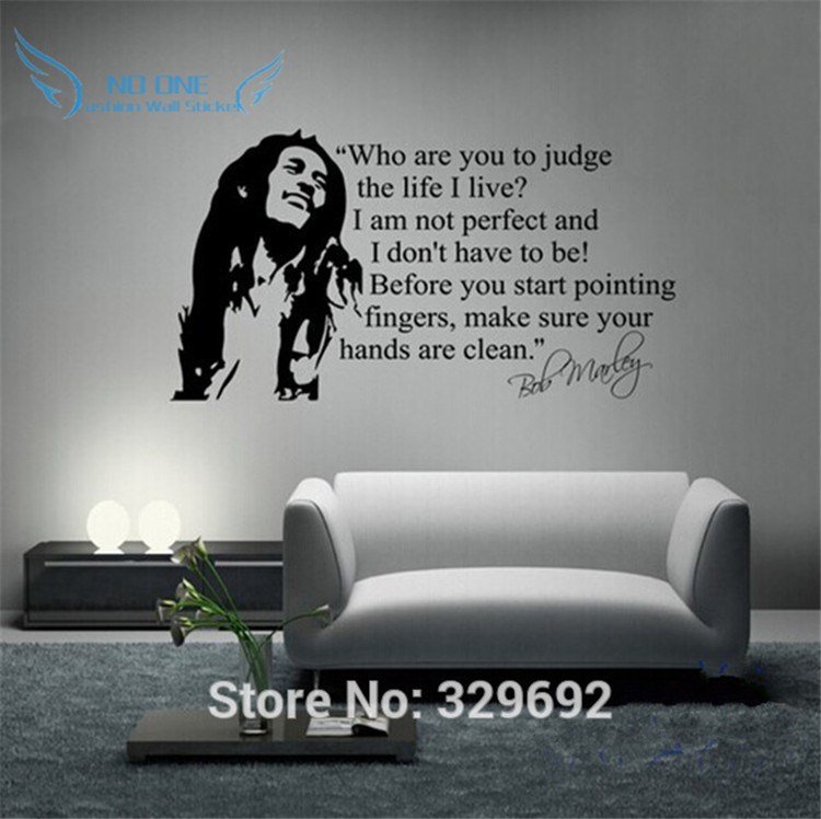Venta al por mayor Bob Marley Quotes Wall Sticker Vinyl Wall Decals Quotes Poster Wall Art Wallpaper Wall Stickers Home Decoration