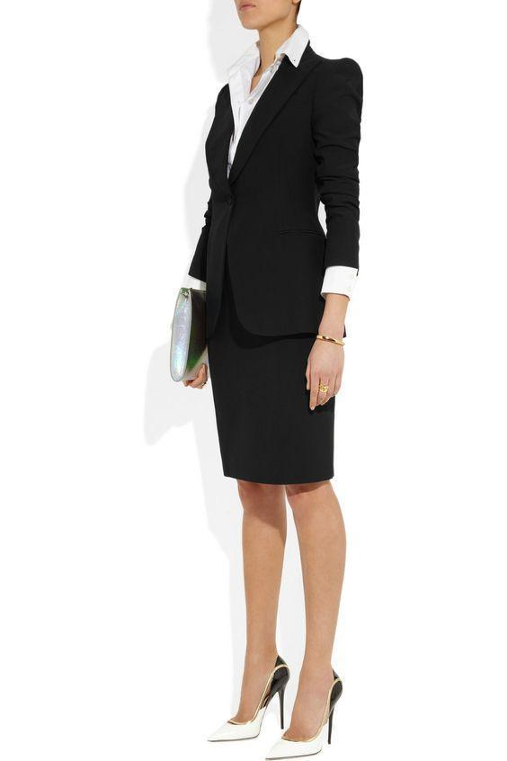 Office Lady Uniform 2 Sets Womens Skirt Suits Work Business Black Blazer+Skirts Smart Interview Outfits B338
