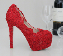 Red lace wedding shoes pearl bridal shoes rhinestone handmade female wedding red pointed toe and round toe high-heeled pumps