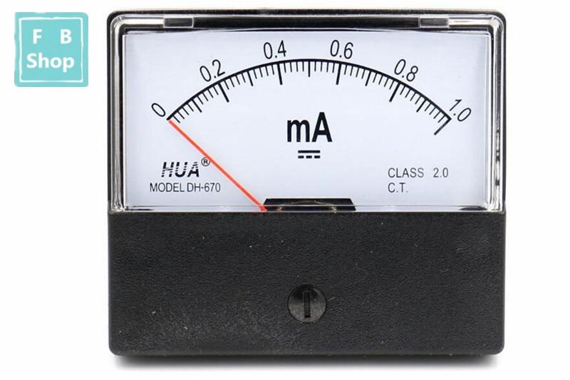 DC DH670 1mA 5mA 10mA 50mA 100mA 200mA 300mA 500mA Analog Current Panel Meter Ampere Ammeter