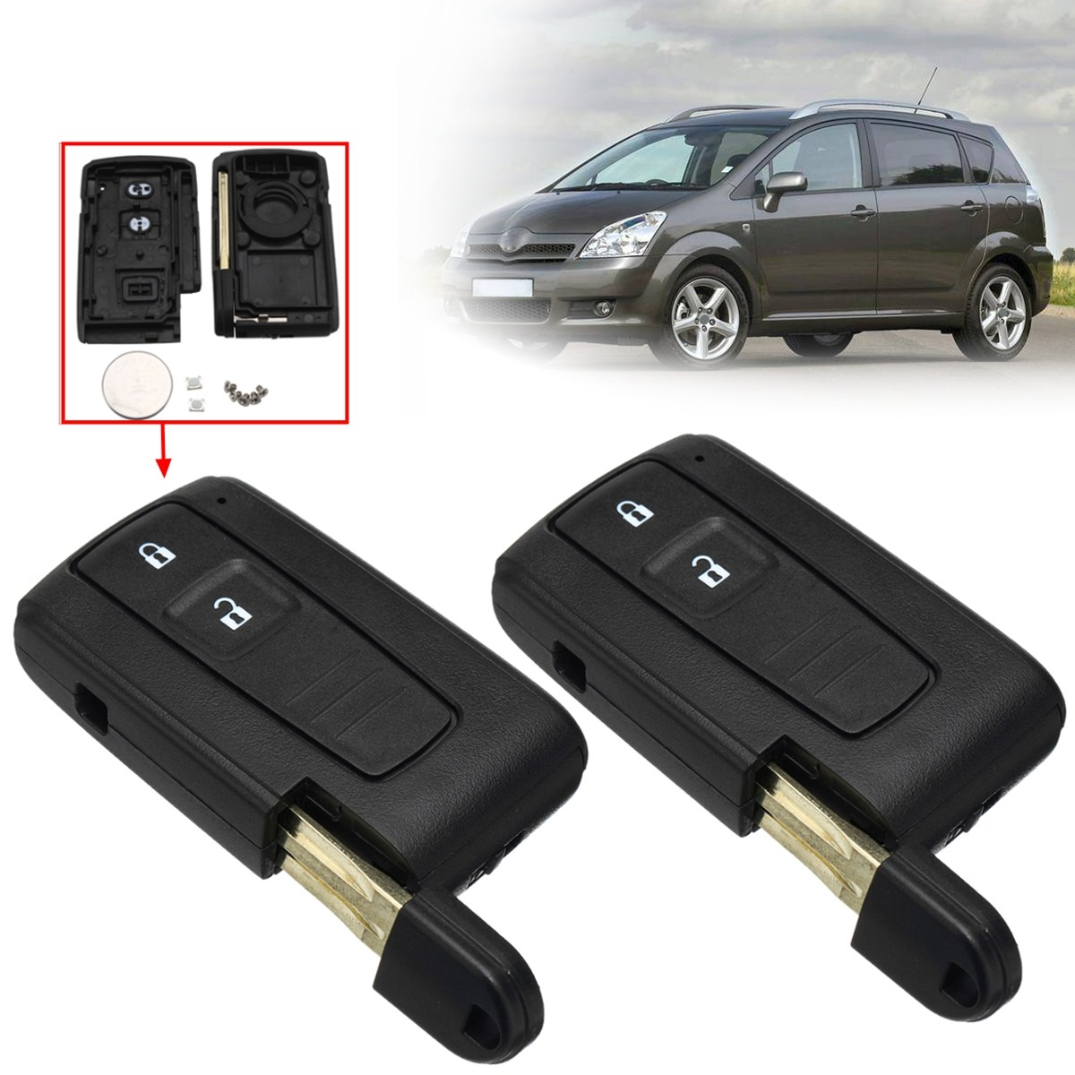2Pcs 2 Buttons Open Lock Car Remote Key Fob Case Shell With Battery For Toyota Corolla Verso ...