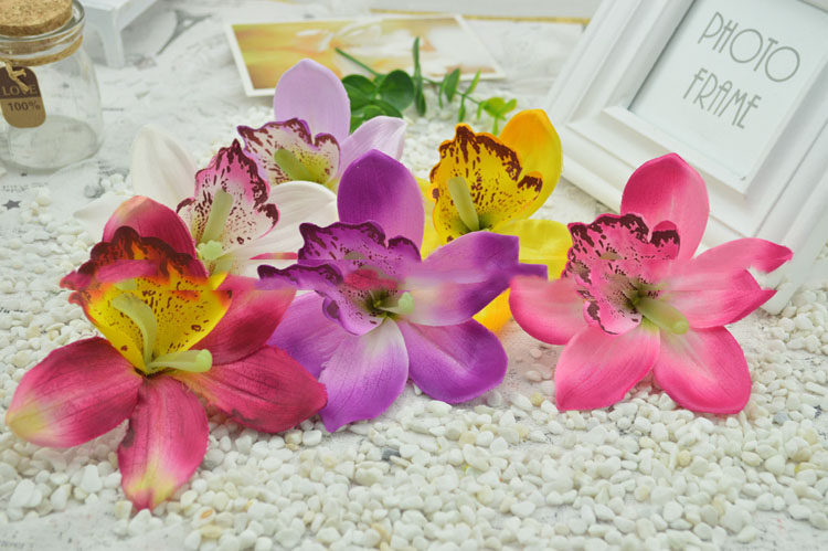artificial flowers fresh silk simulation flower heads large cymbidium orchid flower mainland - Silk Orchids