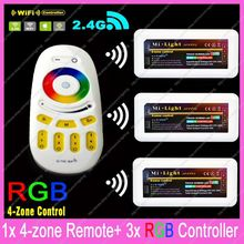 1x 2.4G RF Wireless 4-Zone Touch Remote + 3x DC12-24V 10A Mi.light RGB Controller Set WiFi Compatible For 5050 RGB LED Strips