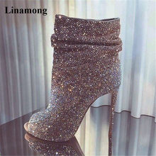2018 Spring Autumn Fashion Peep Toe Bling Bling Rhinestone Slip-on Short  Boots Crystal Thin High Heels Ankle Booties Dress Shoes fb5b1bc78137