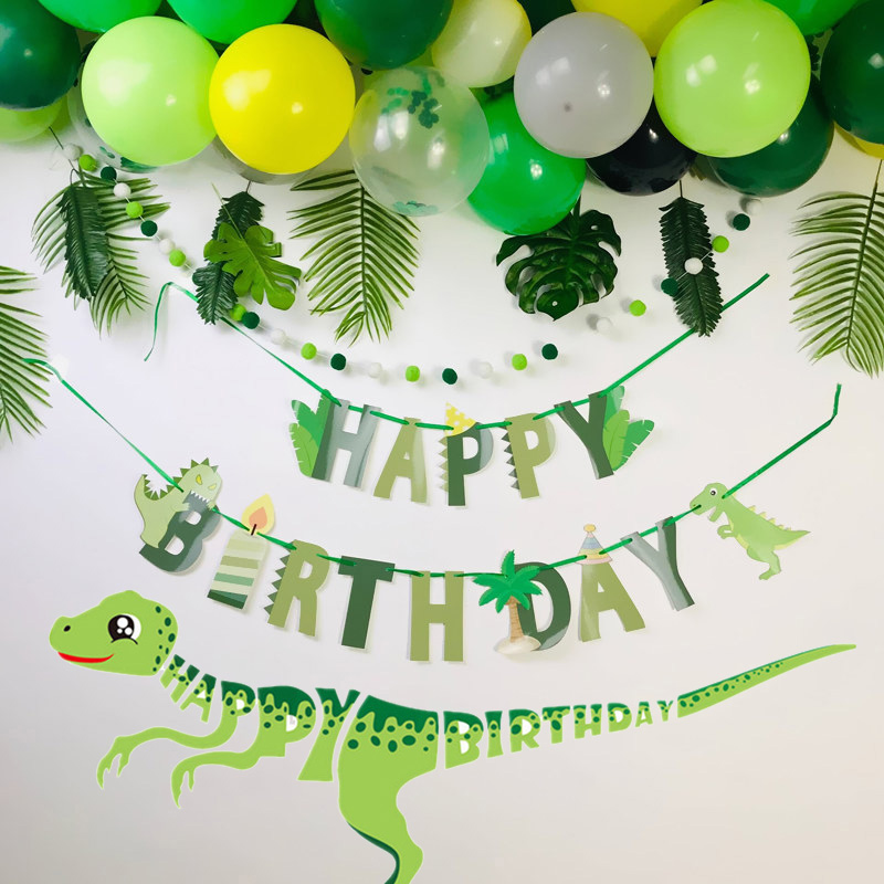 Dinosaur Party Supplies Happy Birthday Banners Paper Garland for Kids Boy  Birthday Party Decoration Dino Event Party Decorations