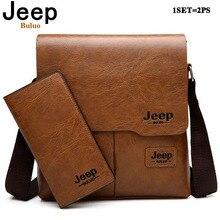 d40fe5317a6 JEEP BULUO Men Pu Leather Shoulder Bags 2 Set Man Messenger Bag Business  Crossbody Casual Bag
