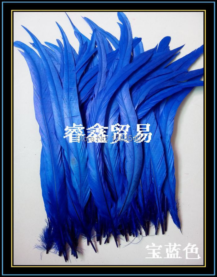 Wholesale! 100pcs natural rooster tail hair Sapphire blue 30-35 cm / 12 - 14 inches