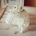 1 unid nupcial flor de la perla pernos de pelo Clips de dama de honor Hairband Rhinestone Headwear boda joyas accesorios para el cabello D0027
