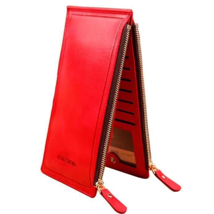 850791dc6405 Для женщин Длинный кошелек карман на молнии Держатель для карт клатч  складывающийся вдвое тонкий кошелек бумажник