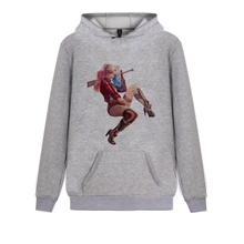 Artistic Printing Suicide Squad Harley Quinn Pattern Personalise Harajuku Hoody with Kangaroo Pocket Leisure Men and Women Sweat