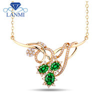 Christmas Gift Fashion Natural Emerald In 18Kt Yellow Gold Gorgeous Wedding Necklaces & Pendants WP052